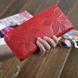 Wholesale Women Long Zipped Wallet - Fashion Genuine Leather Zip Around Flower Pattern Long Women Wallet Handbag Designer Wallets Card Holders Lady Coin Purse Clutch 9 Color