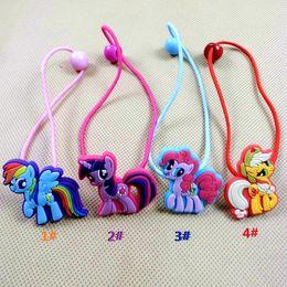 Wholesale Ny Baby - Wholesale- fashion baby children cute my little po ny cartoon hair rope multi-color 2pcs lot