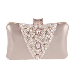 Wholesale Long Ladies Small Shoulder Bag - Wholesale- Women Fashion Satin Pearl Diamond Evening Dinner Clutch Purse Long Chain Day Clutch Lady Handbag Small Shoulder Bag XA2ZH