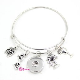 Wholesale Holidays Cocktails - New Arrival DIY Interchangeable 18mm Snap Jewelry Ocean Style Sunglasses Cocktail Palm Tree Beach Flip Flop Wire Adjustable Bangles Bracelet