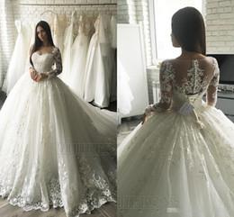 Wholesale Elegant Wedding Dress Train Cathedral - 2017 Luxury Lace Applique Long Sleeve Princess Wedding Dresses Cathedral Train Elegant Dubai Arabic Muslim A-line Wedding Dress Cheap