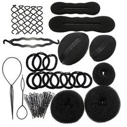 Wholesale Hair Rubber Diy - MLJY Hairdressing DIY Hair Accessories Sponge Disk Hair Increased Pad Hair Pin Clip Rubber Band Professional Tools Braid Style 1 Set