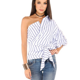 Wholesale Bow Tie Shirts - Striped Women Blouses One Shoulder V-neck Half Puff Sleeve Casual Shirts Women Bow Ruffle Tie Waist Slim Tops HLA001