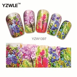 Wholesale Polish Tattoos - Wholesale- YZWLE 1Pcs Nail Art Water Sticker Nails Beauty Wraps Foil Polish Decals Temporary Tattoos Watermark(YZW1397)