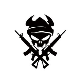 Wholesale vinyl machines - Cool Graphics Personality Viking Skull With Gun Machine Shooting Car Stying Car Stickers Vinyl Graphics Decals Jdm