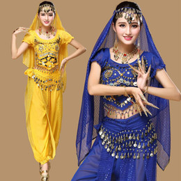 Wholesale indian bellies - New 3pcs Set Belly Dance Costume Stage wear Bollywood Costume Indian Dress Bellydance Dress Womens Belly Dancing Costume Sets 6 Color