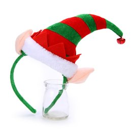 Wholesale elf hats - Wholesale- Happy New Year Merry Christmas Lovely Christmas Elf Hat Bell Headband Hairband for Women & Girls Hair Accessories Jewelry
