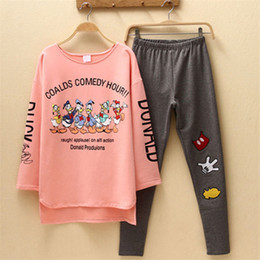 Wholesale Lovely Suits Ladies - Wholesale- New 2017 hot Sale Womens Plus Size Mickeyl Pajama Sets Female Cartoon Sleepwear Lovely ladies Pijamas Cotton Home Suit Women