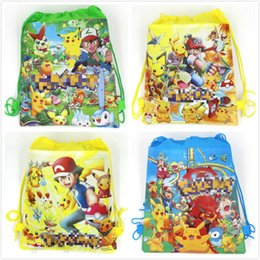 Wholesale Turtles School Bag - HOT drawstring Bags Pikachu Children cartoon Jeni turtle Sylveon Poke Ball Backpacks non-woven fabrics School Bags JC26