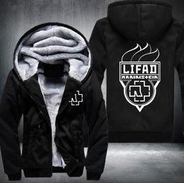 Wholesale Heavy Fleece Jacket - Wholesale- 2016 Classical Mens Hoodie Rammstein Winter Fleece Coat Heavy Metal Rock Band Logo Print Thicken Zipper Jacket US EU Plus Size