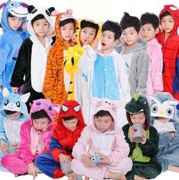 Wholesale Dinosaur Pajamas - 21 Designs Kids Flannel Unicorn Warm Pajamas Kids Pikachu Unicorn One-piece Home Cosplay Nightwear Dinosaur Stitch Pajamas CCA7510 100pcs