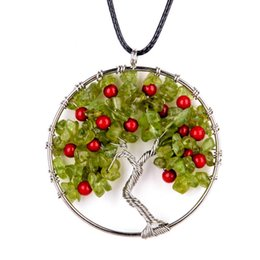 Wholesale Cherries Pendants - hot! 2017 new round agate gravel life tree cherry pendant necklace fashion DIY handmade tree branches Bohemian necklace jewelry accessories