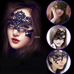 Wholesale Halloween Half - Masquerade Mask NEW Sexy Female Lace Hollow Flower Party Mask Eye Masquerade Solid Black fox Masks round black Mask Woven