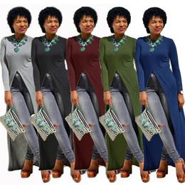 Wholesale Solid Maxi Dresses Wholesale - Fashion Sexy Women Dress High Split Long Sleeve Dresses Casual Maxi Dresses A-line Party Dresses Coat Jacket Women Clothes Wholesale 462