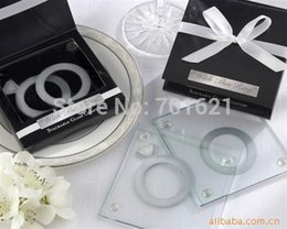 """Wholesale Unique Stackable Rings - FREE SHIPPING+Unique Wedding Favors Gift """"With This Ring"""" Unique Stackable Glass Coaster Favors - Set of 2+100sets lot"""