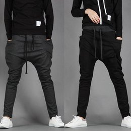 Wholesale Unique Sweats - Wholesale-Harem Pants Men 2016 Unique Pocket Mens Joggers Cargo Men Panats Sweat pants fashion Casual Pants Men Pantalones Hombre hot sale