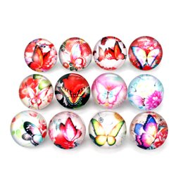 Wholesale Fix Buttons - Glass Snap Buttons Findings For Snap Bracelet DIY Jewelry 20pcs lot Fixed Mixed beautiful butterfly Printing 18mm