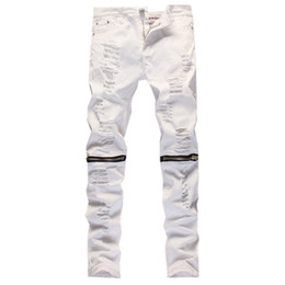 Wholesale Jean Capris For Men - Wholesale-2016 New Male Jeans White Ripped Knee Hole Club Jeans Men Brand Slim Fit Cut Destroyed Torn Jean Pants For Male Homme