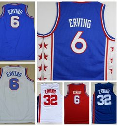 Wholesale Color Blue Jersey Basketball - Wholesale Cheap 32 Julius Erving Jersey Throwback Mens 6 Dr J Julius Erving Basketball Jerseys All Stitching Color Team Red Blue White