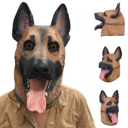 Wholesale Dressing For Masquerade Party - Dog Head Latex Mask Breathable Novelty Full Face Head Mask Halloween Masquerade Mask Fancy Dress Festival Party Masks OOA3145