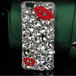 Wholesale Rhinestone Lips Phone - luxury Crystal Bling stone Red lips Case for samsung S5 S6 S7 S8 Edge NOTE 4 5 J5 J7 prime G530 G360 Diamond Rhinestone Mobile Phone Cases