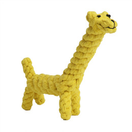 Wholesale Free Bite - Free shipping Giraffe Elephant Horse Tiger Lion Cotton dental Teaser puppy pet toy Chew rope toys for large small dog cat Biting 8-inch
