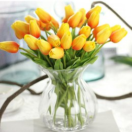 Wholesale Cheap Artificial Flowers For Weddings - 30pcs lot Tulip Artificial Flower cheap PU plastic bouquet Real touch flowers For Home Wedding decorative fake flowers & wreaths