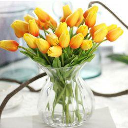 Wholesale Plastic Bouquet - 30pcs lot Tulip Artificial Flower cheap PU plastic bouquet Real touch flowers For Home Wedding decorative fake flowers & wreaths