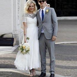 Wholesale Bridal Gowns Vintage Ankle Length - Vintage Plus Size Wedding Dresses A Line Short Sleeves Ankle Length Bridal Gowns Cheap Country Wedding Dresses Scoop