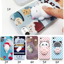 Wholesale Iphone Cute Cover - Phone Case for iPhone 6 6S 6 plus 3D Cute Soft Silicone Squishy Cat Fundas for iPhone 7 7 plus Cover Animal Sleeping Kitty Coque