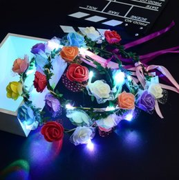 Wholesale Floral Hair Wreaths - Flashing LED Glow Flower Headbands Light Up Party Floral Hair Garland Wreath Wedding Flower Crown Floral Garland Boho for Festival KKA2688
