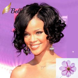 2019 parrucca media marrone capelli La parrucca anteriore riccia del pizzo dei capelli umani dell'onda sciolta media di Rihanna con capelli arricciati Bella Bella libera il trasporto sconti parrucca media marrone capelli