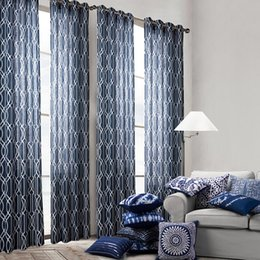 Wholesale Modern Print Curtains - Modern Curtain Simplicity Style Living Room Bedroom Curtains Beauty Printing Blue Color Blackout Curtains Wholesale 3 Sizes Available