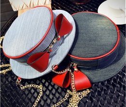 Wholesale Two Tone Women Hats - New style. Women's Bags. Small round. Casual fashion bag. Metal chain. Hat. Denim. Soft.Cross Body.Shoulder Bags.