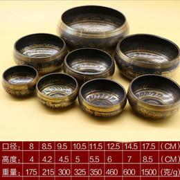Wholesale Buddhist Bowl - Himalayan Hand Hammered Chakra Meditation Bowl Religion Belif Yoga Tibetan Buddhist Brass Singing Bowl