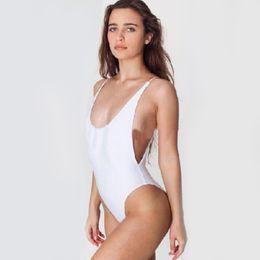 546dd60f2873f New Bikini Women Bodysuit Bathing suits Beach Wear White One Piece Backless  Swimwear Sexy Bandage High Cut One Piece Monokini Swimsuit For