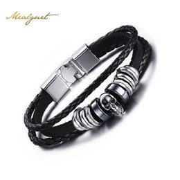 Men s stainless cuff bracelet à vendre-Meaeguet Men's Leather Skull Bracelets Rock Punk Acier inoxydable Squelette Charms Bracelet Bracelet Bangles Casual Bijoux