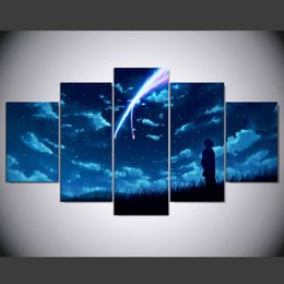 Arte da parede do anime on-line-Novo Anime O Seu Nome Da Pintura Da Lona de Impressão 5 Peça Sem moldura de Parede Arte Pictures Home decor Sala Poster Presente Original