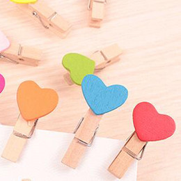 Wholesale Cute Wooden Pegs - 10 Pcs Mini Wooden Colorful Novelty Love Heart Pegs Photo Paper Clips Cute Prize Gifts Stationery Free Shipping Cute Prize Gifts