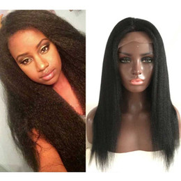 Wholesale Gluless Full Lace Wigs - Gluless Lace Wigs Human Hair Black Women Lace Front Kinky Straight Wig Italian Yaki Coarse Yaki Full Lace Wig With Baby Hair