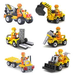 Wholesale Model Construction Cranes - 6pcs City Construction Team Bulldozer Excavator Forklift Drill Flatbed Truck Crane Model Building Block Toy