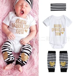 Wholesale Sparkling Bodysuit - 3Pcs Sequins Set Newborn Baby Girls Bodysuit Rompers Cute Letter Jumpsuit Striped legging headband Cotton Outfits - Brand Sparkling New