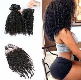 Wholesale Curly Pcs Closure - Top Lace Closure+3 Pcs Brazilian Peruvian Indian Malaysian Cambodian Human Hair Weaves Grade 8A curly Hair Bundles Free Shipping