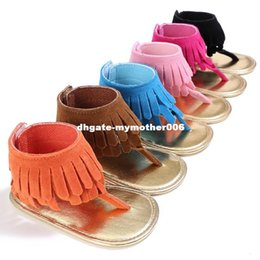 Wholesale Suede Ankle Wrap Sandal - Hongteya 6colors Summer New T style PU Suede Leather Double Tassel baby moccasins Soft sole Anti-slip Baby infant Baby sandals