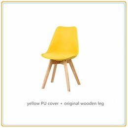 Wholesale Restaurant Furniture Chairs - Colorful Chairs Dinning Furniture Chairs  Wedding Party Chairs Restaurant Chairs with Yellow PU Cover and Original Wooden Legs