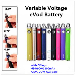 Wholesale Ego C Variable Voltage - Evod Variable Voltage Battery with CE logo 650 900 1100mAh eVod Twist 3.3~3.7~4.2V VV Batteries vs Vision Spinner eGo-C for MT3 CE4 H2 T3S