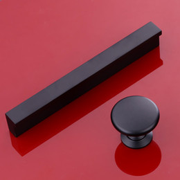 Wholesale Black Kitchen Cabinet Pulls - 2017 Black Super long aluminum alloy solid cabinet handles knob kitchen drawer pull with Pitch-row 32 64 96 128 160mm till 1m#421