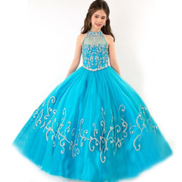 Wholesale Ball Gowns Size 11 - size 12 14 vintage pageant dresses for girls glitz sheer blue beading floor length ball gown princess girls pageant dresses