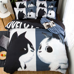 Wholesale Cat Comforter Sets - Black White Cats 3 or 4 Pieces Set Comforter Bedding Sets 3D Reactive Printing Beds Bed Sheet Set Duvet Cover Beddings set