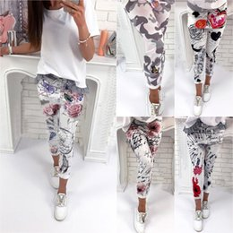 Wholesale Ladies Pink Leggings - Womens Floral Camo Printed Leggings Stretch Pencil Jogger Jogging Pants Ladies Casual Stretch Jeggings Trousers Bottoms